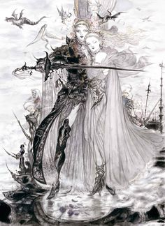 Yoshitaka Amano (1952) is one of the prominent artist, character designer, illustrator in japan. I really like his drawing style which is mixed Nouveau style's art and classic japan's style of painting. His painting looks a bit bizarre and gloomy but gorgeous even thought do not use too much colors.