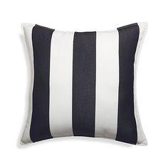 "Sunbrella 20"" Black Cabana Stripe Outdoor Pillow   Crate and Barrel"