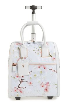7 Cute Luggage Pieces to Travel with - Ted Baker Alayaa Cherry Blossom Two-Wheel. Cute Luggage, Luggage Sets, Travel Luggage, Travel Bags, Luggage Trolley, Trolley Bags, Luggage Brands, Travel Backpack, Cute Suitcases