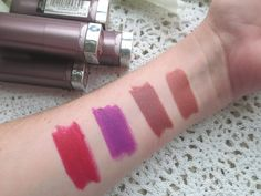 Blossom in Blush - Maybelline Creamy Matte Lipstick ; Clay Crush, Nude Nuance, Vibrant Violent, Rich Ruby (arm swatch)