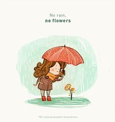 Think positive_no rain no flowers by SimonaBonafiniDA on DeviantArt Cute Images With Quotes, Life Quotes Pictures, Cute Quotes, Happy Quotes, Positive Quotes, Girly Quotes, Disney Quotes, Buddha Doodle, Meaningful Pictures