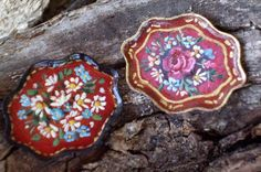 Folk Art Hand Painted Trays Miniatures $25.00 each SOLD