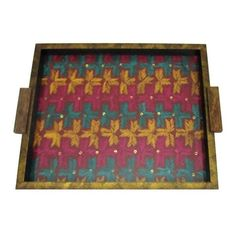 Bright Multicoloured Embroidered Wooden Serving Tray  - FOLKBRIDGE.COM   Buy Gifts. Indian Handicrafts. Home Decorations.