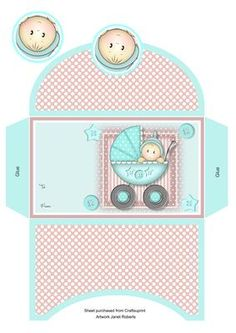 Baby Boy in Pram Money Wallet on Craftsuprint designed by Janet Roberts - This cute money wallet goes with my 'Baby Boy in Pram' mini kit - Now available for download!
