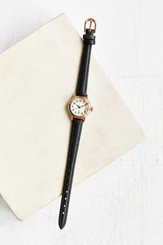 Sweet ladylike leather watch topped with a rounded case in a classic silhouette. Content + Care- Mixed metal, glass, leather - Wipe clean - Imported Size- Face width: &in Wear Watch, Dainty Necklace, Jewelry Collection, Urban Outfitters, Jewelry Watches, Women Jewelry, Hoop Earrings, Style Inspiration, Classic