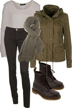 Kaki jacket black jeans doc martians