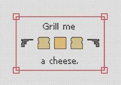 Archer Grill Me a Cheese cross stitch pattern by Stiltbreaker