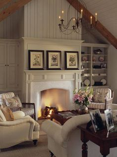 See our web page for a lot more on the subject of this extraordinary country cottage living rooms Cottage Living Rooms, Home Living Room, Living Spaces, Small Living, Kitchen Living, Style At Home, Style Cottage, White Cottage, Cozy Cottage