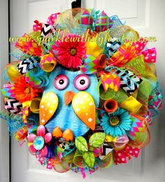 ONLY 1 In This Style! Deco Mesh Wreath -Spring Wreath - Summer Deco Mesh - Owl Wreath - Owl Decor - Spring and Summer Decoration on Etsy, $119.00