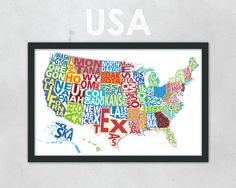 Typography Map of the United States  Multi-Colored  11 by artyMAPS