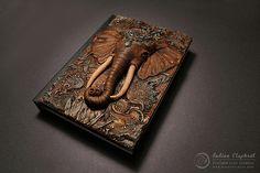 Indian Elephant Polymer Clay Journal A6 by Aniko Kolesnikova | por myMandarinDucky