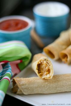 Baked Chicken Taquitos - I changed this one up a bit.....I only used 1 cup cheddar cheese (no mozzarella) and 3 oz 1/3 less fat cream cheese, no onions, and we put them in flour tortillas instead of corn.  These are incredibly tasty, my kids ate them without complaint, and asked for seconds (whch NEVER happens!).  Loved these!!