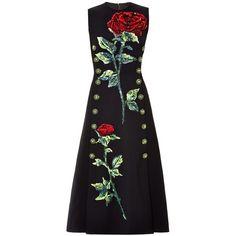 Dolce & Gabbana Rose sequin-embellished wool midi dress ($9,190) ❤ liked on Polyvore featuring dresses, black, dolce gabbana dresses, rose dress, black wool dress, sequin cocktail dresses ve calf length dresses
