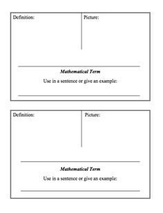 Here's a page with a template for students to create their own word wall cards.