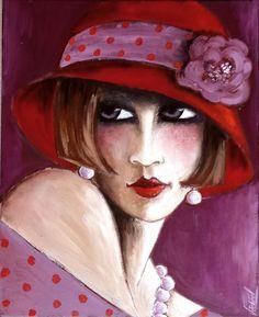 Années 30, Portrait Rouge 2, by Veronique Didierlaurent