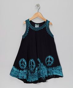 Black & Turquoise Peace Sign Dress - Toddler & Girls by India Boutique $7.99