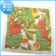 "Authentic HERMES Carre 90 ""LES PERROQUETS(detail)"" Parrot Pattern Scarf Silk White Green Maulticolor Women Lady's fs04gm"