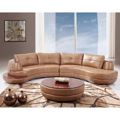 Global Furniture USA Bonded Leather Sectional Sofa, Honey Contemporary style that goes well with any décor. From the Global Furniture USA U918 Collection. Bonded Leather. Comfortable and stylish. 1 Year Limited Manufacturer Warranty.  #GlobalFurnitureUSA #Home