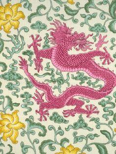 Scalamandre - Chi'En Dragon - Pink Yellow Green On Cream