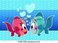 Clipart of Two cartoon cute fishes couple falling in love ...