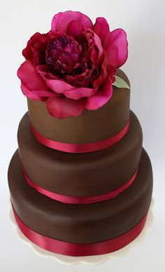 chocolate fondant cake w/ real flower and ribbon