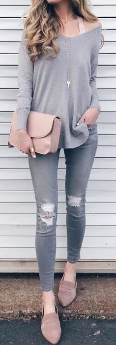 03123ffc443  winter  outfits gray off-shoulder long-sleeved shirt and gray distressed  denim
