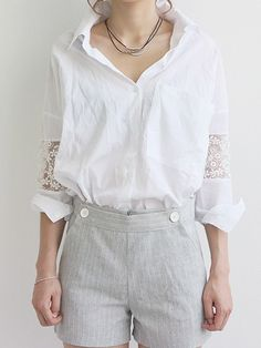 Buy White Shirt with Lace Insert Sleeve from abaday.com, FREE shipping Worldwide - Fashion Clothing, Latest Street Fashion At Abaday.com