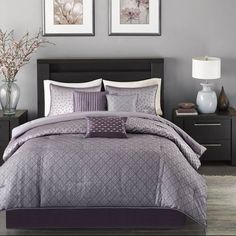 Madison Park Biloxi Purple Queen 7 Piece Bed In A Bag