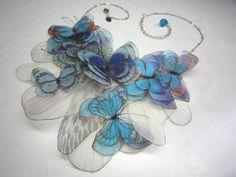 BIJOUX KAROL DE LALEU - Collection CARESSES DE PAPILLONS - Silk & Embroidery Butterfly Necklaces
