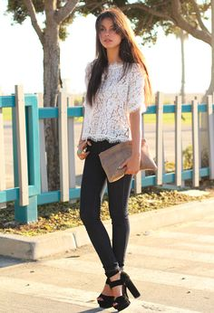 Winter White  , Joie Fanny Lace Top in Shirt / Blouses, James Jeans Couture in Jeans, Jeffery Campbell Dresden in Heels / Wedges