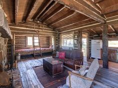 I love this authentic 1800's on a mountain ranch. Abigale's grandparents' place wouldn't have had the large windows, but what a beauty this is.