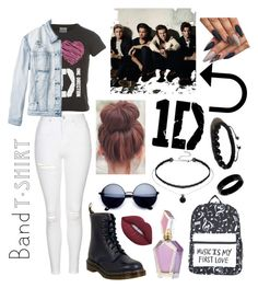 """""""1D"""" by fadyadea on Polyvore featuring Topshop, RVCA, Dr. Martens, Lime Crime, Shamballa Jewels, West Coast Jewelry, bandtshirt and bandtee"""