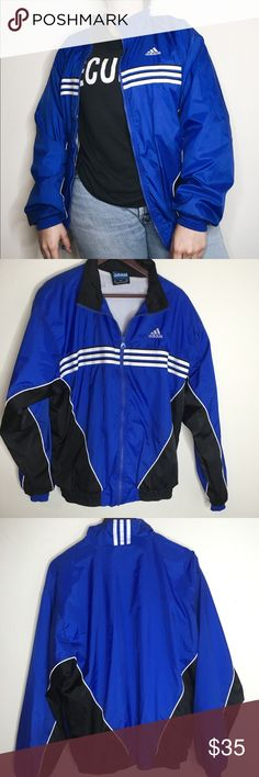 """Rare adidas zip up track jacket 2000s 2000-2005 Rare Adidas X Stella McCartney Zip Up Jacket.  Great condition, one small mark on sleeve and the name """"Wong"""" written on the inside. All zippers work.  Measurements:Inches Chest/Bust: 21.5 Bottom Hem: 17 1/2 Shoulders: 7 1/2 Sleeves: 23 Total Length: 27  Tag size: Medium. Doesn't say if it's men or women's, PLEASE check measurements for best fit. Adidas by Stella McCartney Jackets & Coats"""