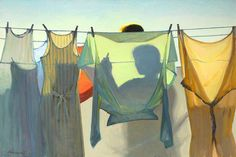 Image result for hanging wash line paintings