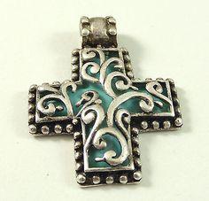 Vintage Sterling Silver Aqua Blue Turquoise Scroll Cross Pendant (8.8g) - 235132