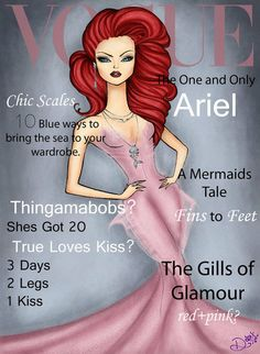 Vogue Ariel: These fashionable Disney princesses heat up Vogue magazine covers! Illustration by Dante Tyler