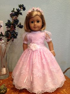 white lace over pink fabric communion or by SmallWorldCouture, $44.99