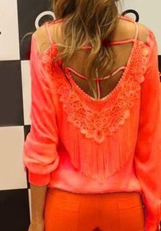 Stylish Round Collar Long Sleeve Spliced Tassels Embellished Women's Blouse