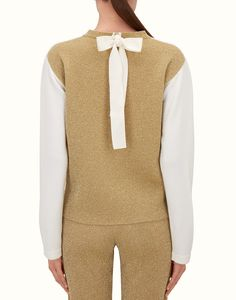 FENDI SWEATER - White and gold wool sweater - view 2 detail