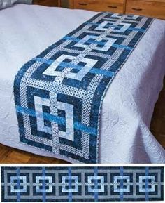 It's a bed scarf pattern, but a nice solid top and bottom and it'd be a lovely ful size quilt. Description from pinterest.com. I searched for this on bing.com/images