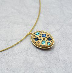 Geometric Blues Swarovski Crystal & Clay Pendant by MoonBubbles, $35.00