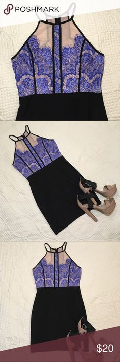 Lush Black Bodycon Blue Lace NYE Event Dress SizeM In excellent condition  Size Medium  Zippered Back but stretchy material  Bodycon Lush Dresses