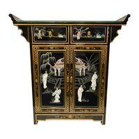Altar Cabinet in Oriental Mother of Pearl Inlays on lacquer finish, wide with carved altar top and felt lined drawers - Oriental Furnishings: Furniture & Decor Dream Furniture, Funky Furniture, Furniture Decor, Vintage Furniture, Chinese Furniture, Oriental Furniture, Debut Decorations, Lacquer Furniture, Christmas Door Wreaths