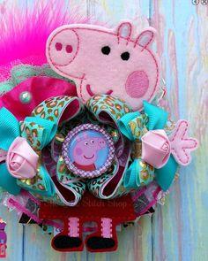 Peppa Pig machine embroidery hair bow OTT
