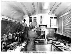 EXPANDED Image #2 Pan Am Boeing Stratocruiser galley and Stewardess late 1940's