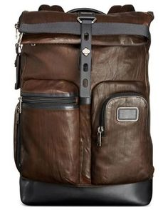 6b8f9de93c1 Tumi - Brown Alpha Bravo Luke Roll-top Leather Backpack for Men - Lyst