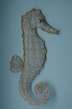 LOVE THIS!!!!! Beach Decor Metal Wire Seahorse  Sandy by beautifuldetailswed,
