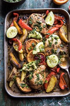 Sheet Pan Cuban Chicken With Citrus Avocado Salsa + Video. Sheet Pan Cuban Chicken With Citrus Avoca Low Carb Recipes, Cooking Recipes, Healthy Recipes, Whole30 Recipes, Epicurious Recipes, Kale Recipes, Healthy Dinners, Vegetarian Recipes, Cuban Chicken