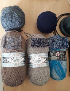 Ализе Суперлана тиг № 584 4бр+сива Катрина 120гр // Суперлана тиг № 207 4бр + тъмносиня Катрина 2400м // и последната е Life dk (Stylecraft.co)5бр + тъмносиня Катрина (2400м) Knitted Hats, Knitting, Tricot, Breien, Stricken, Weaving, Knits, Crocheting, Yarns