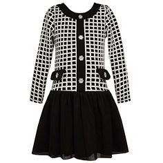 Bonnie Jean Big Girls Black White Contrast Square Pattern Christmas Dress 16 ** Want to know more, click on the image.